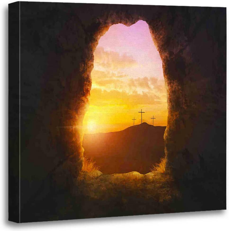 Benxii Canvas Print Wooden Framed Wall Decor Art Painting 16x16 Inches Easter Empty Tomb Three Crosses A Hill Side Home Artwork Bedroom Living Room Easy to Hang