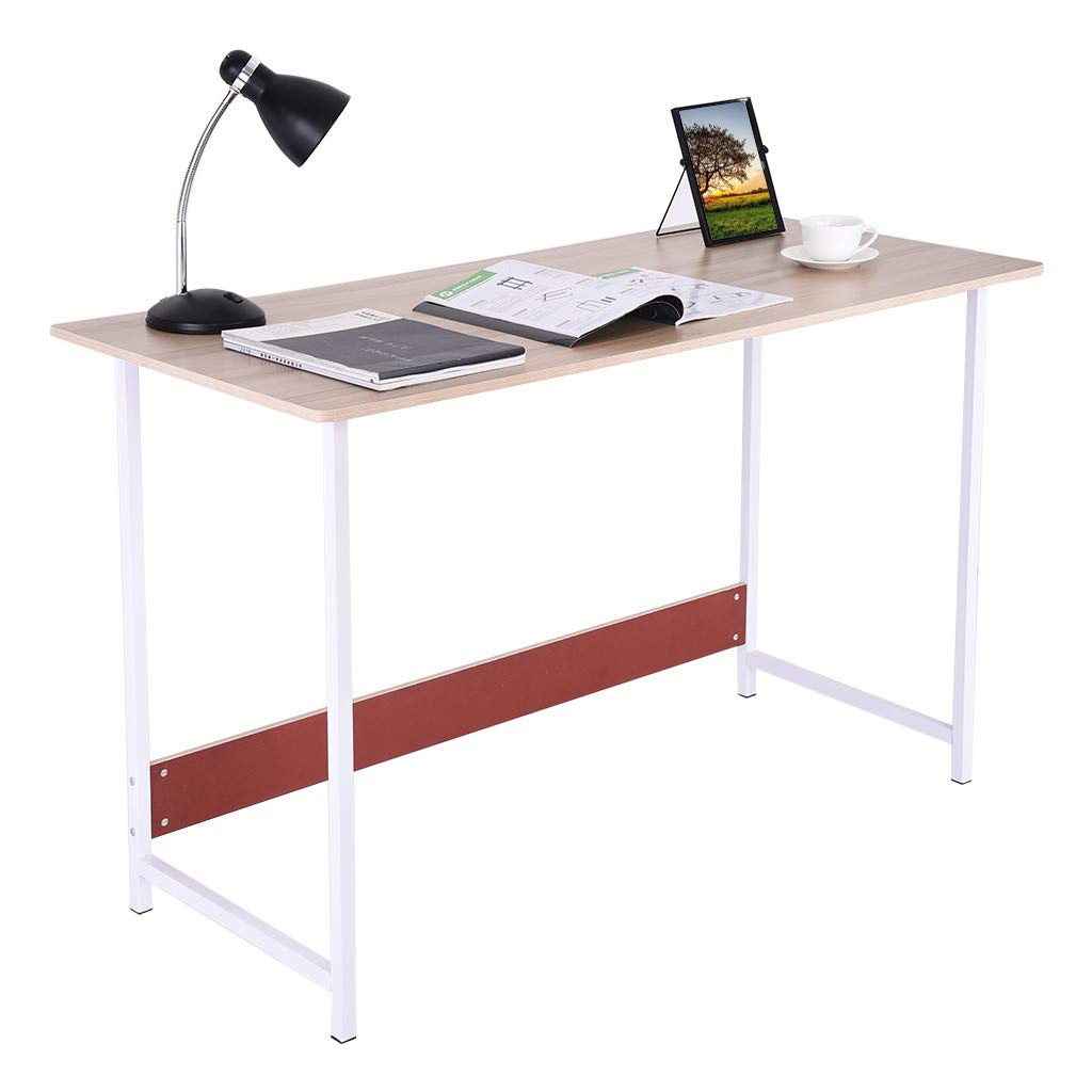 Office Desk, C-Easy Modern Desktop Computer Desk Study Writing Desk - Metal Frame Gaming Computer Table PC Laptop Table Workstation, Khaki, 47.2 x 23.6 x 28.8 inches, Ship from US by C-Easy