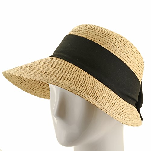 Golf Visor Scoop Panama Straw Hat Womens Black hatband 7 1/8 by Ultrafino (Image #4)