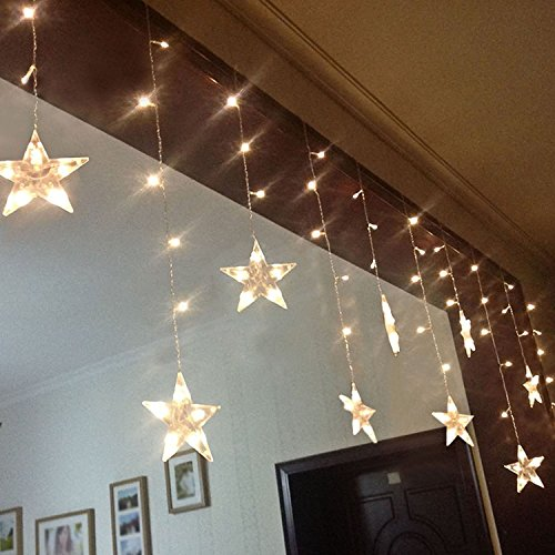 Led String Lights Star Curtain USB Or Battery Powered 12 Stars 108 LEDs 3M