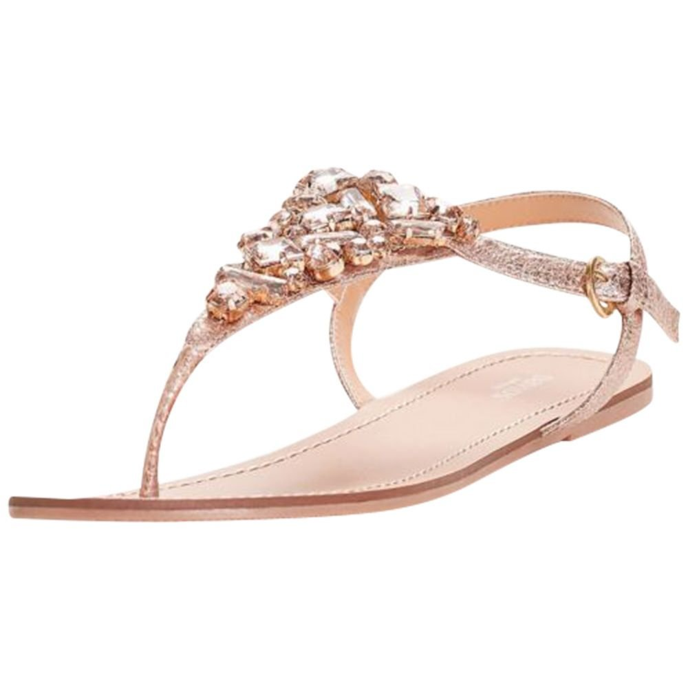 Jeweled Metallic Ankle-Strap Thong Sandals Style Rio, Rose Gold, 8 by David's Bridal