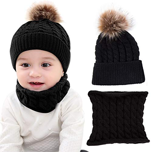 - Yinuoday 2PCS Toddler Baby Knit Hat Scarf Winter Warm Beanie Cap with Circle Loop Scarf Neckwarmer