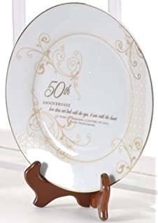 50th Wedding Anniversary Love Sees With The Heart Porcelain Plate Stand By Roman