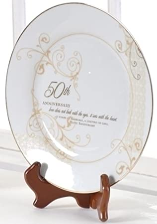 50th Anniversary Plate Set With Stand