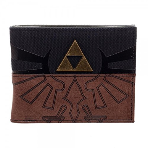 Legend Of Zelda Triforce Metal Logo Mix Material Bi-Fold Wallet BioWorld MW4SS7NTN