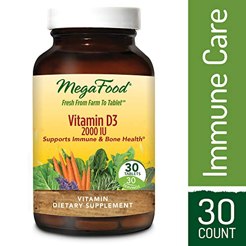 MegaFood - Vitamin D3 2000 IU, Support for Immune Health, Bone Strength, Hormone Production with Organic Herbs and Food, Vegetarian, Gluten-Free, Non-GMO, 30 Tablets (FFP)