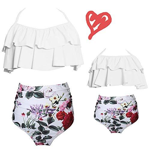 2Pcs Mommy and Me Matching Family Swimsuit Ruffle Women Swimwear Kids Children Toddler Bikini Bathing Suit Beachwear Sets (Floral White, Women-M)