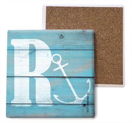 SJT ENTERPRISES, INC. Initial/Letter Lake and Beach Themed Coasters -R Absorbent Stone Coasters, 4-inch (4-Pack) (SJT96879) ()
