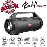 True Wireless Speaker, Woozik Rockit Party Bluetooth 5.0 Speaker, with FM Radio, SD Card Input, Aux, True Wireless Outdoor Boombox TWS Water Resistant Indoor