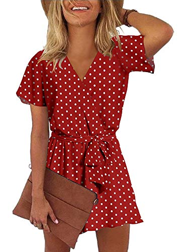 REORIA Womens Casual Summer One Piece Ruffles Short Sleeve V Neck Tie Front Belted Wrap Playsuits Short Jumpsuit Beach Rompers Polka Dot Red Large