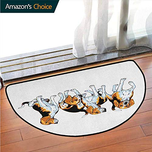 DESPKONMATS Beagle Non-Slip Semi-Circular Rug, Four Beagle Hounds Siblings Playing Foxhound I Love My Dog Breed Theme, Room Rugs, W27.5 x R15.7 Inches Brown White and Black (The Fox And The Hound 2 Trailer)