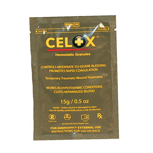 Bleeding Aid First (Celox V12090 Blood Clotting Solution, 15g Pouch)