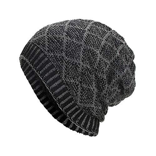 Clearance DEATU Hat Women Men Warm Baggy Weave Crochet Unisex Winter Knit Ski Beanie Skull Caps Hat Hot Sale(c-Black,One Size)