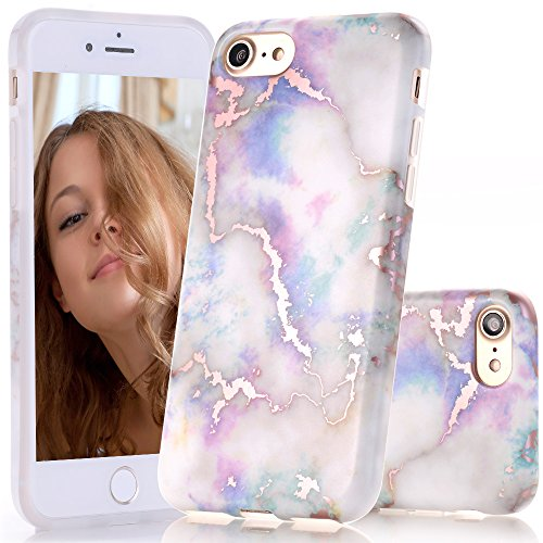 BAISRKE Shiny Rose Gold White Colorful Marble Design Clear Bumper Matte TPU Soft Rubber Silicone Cover Phone Case Compatible with iPhone 7 (2016) / iPhone 8 (2017) [4.7 inch]