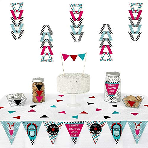 50's Sock Hop - Triangle 1950s Rock N Roll Party Decoration Kit - 72 -