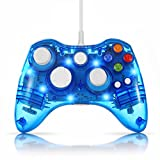 xbox 360 slim console mods - TNP USB Wired Gamepad Controller for PC & XBox 360 (Blue) - Glow Lightning Joystick Joypad Supports Shock Vibration Feedback for PC Windows, Steam OS and Microsoft XBox 360 Slim [Xbox 360] [PC]