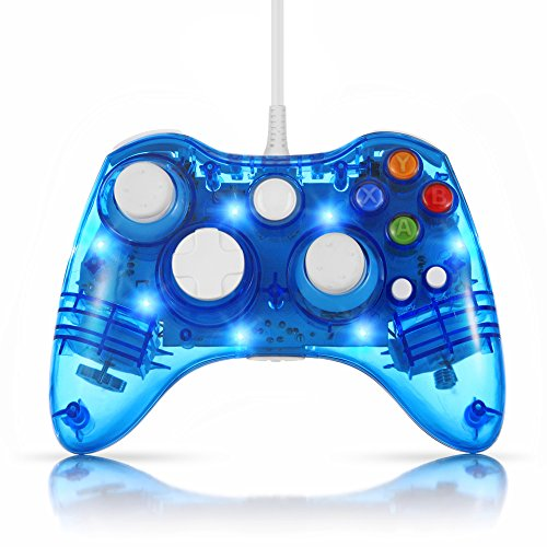 TNP USB Wired Gamepad Controller for PC & XBox 360 (Blue) - Glow Lightning Joystick Joypad Supports Shock Vibration Feedback for PC Windows, Steam OS and Microsoft XBox 360 Slim [Xbox 360] [PC] (Logitech Snes Usb Controller)