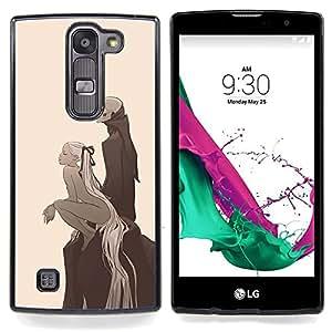 "Qstar Arte & diseño plástico duro Fundas Cover Cubre Hard Case Cover para LG G4c Curve H522Y ( G4 MINI , NOT FOR LG G4 ) (Girl & Esqueleto Parca"")"