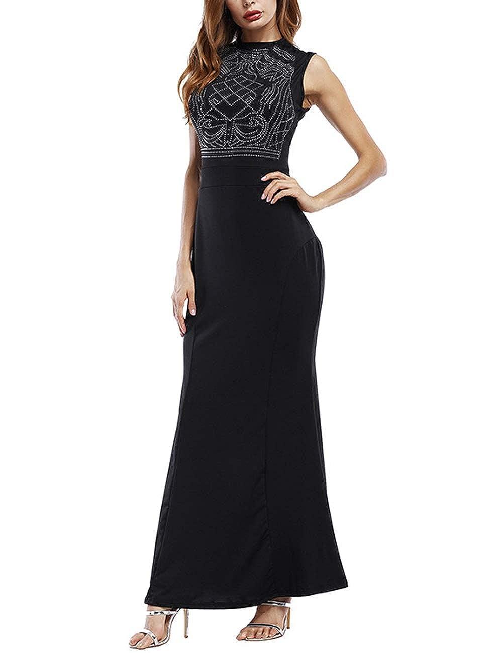 Dasior Womens Beaded Sleeveless Scoop Bodycon Long Prom Party Dress Back Zipper