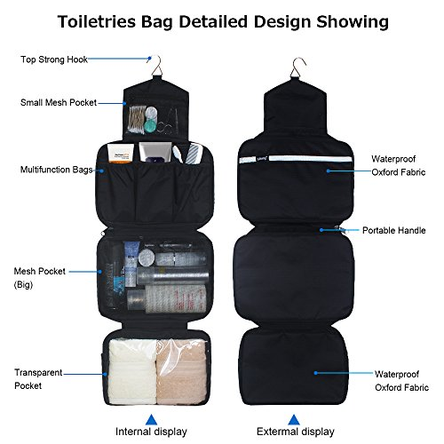 Men Wash Portable Flamingo Folding Dark Hanging for Waterproof Homchen Bag Women Toiletry Black Bag Cosmetic Bag and Travel 7WYqz