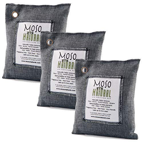 3 Pack Moso Natural 200 gm Air Purifying Bag Deodorizer. Odor Eliminator for Cars, Closets, Bathrooms and Pet Areas. Absorbs and Eliminates Odors. Charcoal - It Air Bag