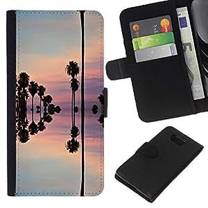 KingStore / Leather Etui en cuir / Samsung ALPHA G850 / Reflexión del cielo árboles agua rosado;