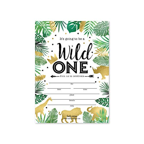 25 Jungle Safari Zoo, Elephant Animals Themed Kids Party Invitation, Crown Lion Tropical Invite, Forest Giraffe Wild One Bday, First Year Old Birthday Idea, Baby Card Supplies, Printable -