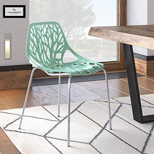 LeisureMod Forest Modern Dining Side Chair with Chrome Legs Mint