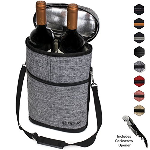 Premium Insulated Wine Carrier Bag by OPUX | Elegant Wine Carrying Tote, Extra Protection, Convenient, Durable Wine Bottle Carrier | Corkscrew Included by OPUX