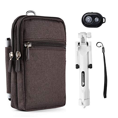 Durable Travel Waist Pouch Carrying Case Wireless Selfie Stick for Google Pixel 2, 2 XL, Nokia 6.1, 6.1Plus, 7Plus, LG Stylo 4, 3, G7 ThinQ]()