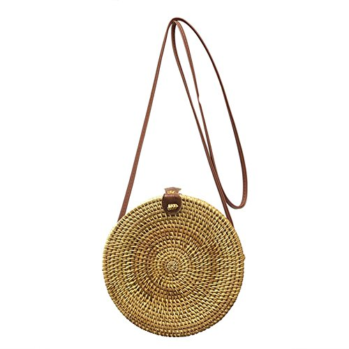 Handbag Summer Round Rattan Woven Prosperveil Straw Messenger Shoulder Women No 5 Bags Beach fIw1Zxx6q