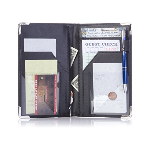 All-in One Server Book for Waiter Waitress Waitstaff | 11 Pocket Organizer with Zipper Pouch, POS Card Pocket and Pen Loop | Includes 2 Guest Order Check Pads and Metal Pen in Gift Box
