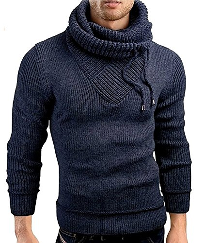 Cowl Turtleneck Sweater - Male Stand Cowl Neck Sweater Ribbed Long Sleeve Turtleneck Pullover Knitted Sweater with Drawstring Navy Blue