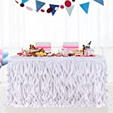 Leegleri 14 ft White Curly Willow Table Skirt Tulle Ruffle Table Skirt for Rectangle Table or Round Table,Tutu Table Skirt for Baby Shower,Wedding,Birthday Party (L 14(ft) H 30in)