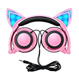 Cat Ear Headphone Kids Headphones with LED Light,Limson Foldable Over Ear Gaming Headset with LED Light Emitting Wired Cosplay Earphone Compatible with Computer Tablet, Apple and Android Phone (Pink)