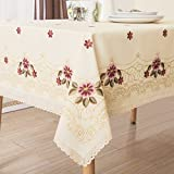 country kitchen table cloth Decorative Red Floral Print Lace Water Resistant Tablecloth Wrinkle Free and Stain Resistant Fabric Tablecloths for Dining Room 60 Inch by 104 Inch