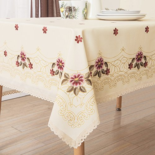 Oblong Lace Tablecloth (Decorative Red Floral Print Lace Water Resistant Tablecloth Wrinkle Free and Stain Resistant Fabric Tablecloths for Kitchen Room 60 Inch by 84 Inch)