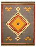 EORC DN6MU Handmade Wool Keysari Kilim Rug, 8.4 by 10-Feet, Blue