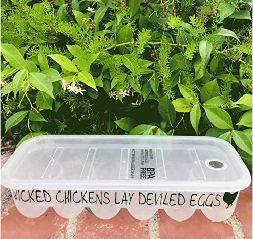 Plastic Egg Storage Containers with Lids and Custom Messages designed to make you smile! Great Gift! (Wicked Chickens lay Deviled Eggs)