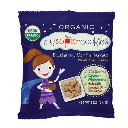 MySuperCookies, Blueberry Vanilla Heroes, 100ct-1oz (Bulk Snacks, Organic, Nut Free, Kosher, Whole Grain) (Blueberry Vanilla Heroes) by MySuperfoods
