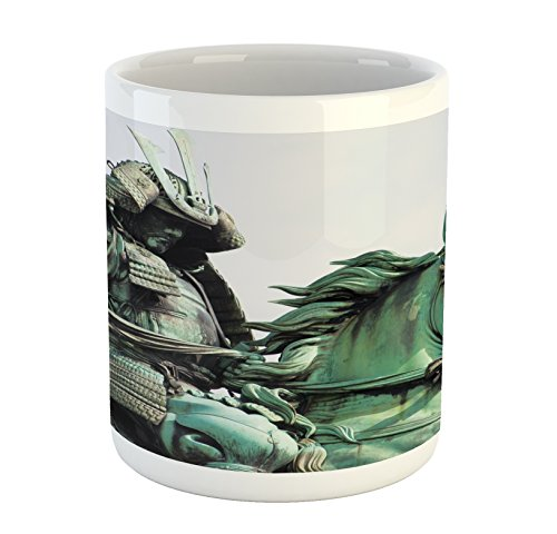 Lunarable Retro Mug, Samurai Worrior Riding Horse City Park in Tokyo History Travel, Printed Ceramic Coffee Mug Water Tea Drinks Cup, Mint Green Black]()