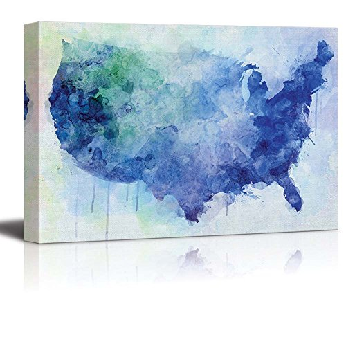 Blue and Green Watercolor Map of The United States of America Nature
