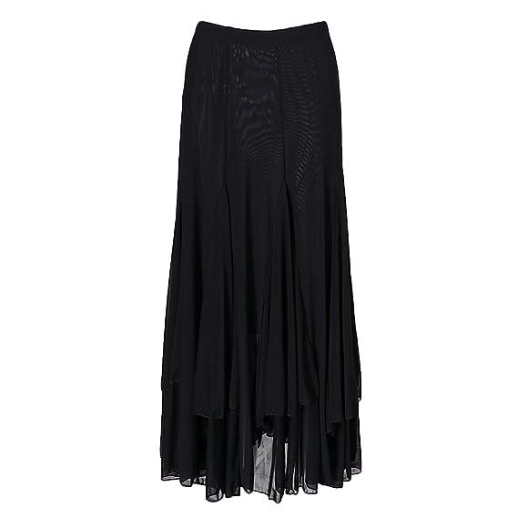 IPOTCH Falda Larga para Mujer, Diseño de Cuadrado Malla para Baile ...