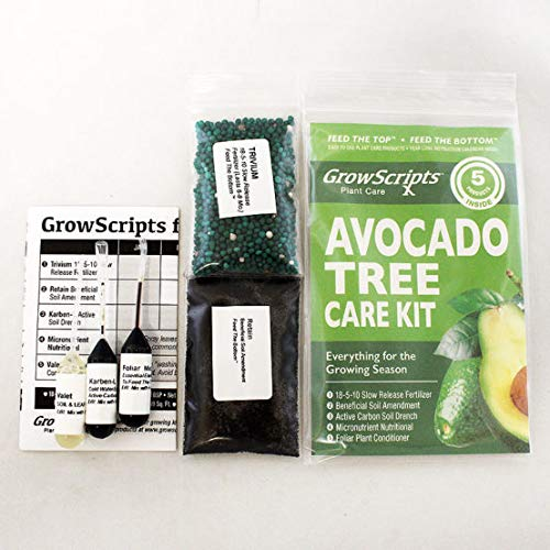 GrowScripts: 5-PC Avocado Tree Care Kit for Small Patio/Indoor Trees Grown in Containers