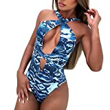 Women's Deep V Neck One Piece Peacock Swimsuit Halter Bikinis Vintage Swimsuits Tummy Control Swimwear Monokinis Blue