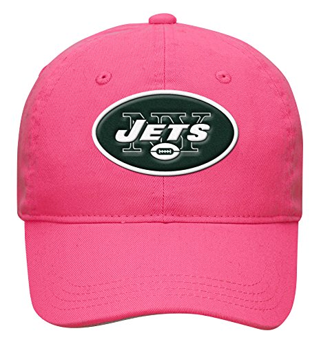 NFL by Outerstuff NFL Girls 7-16 Slouch Adjustable Hat-Pink-1 Size, New York Jets - Adjustable Pink Hat