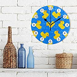 Tarity Silent Round Wall Clock, Yellow Rubber Ducks Decorative Quiet Non Ticking Battery Operated Art Wall Clocks for Living Room Bedroom Office Kitchen Kids