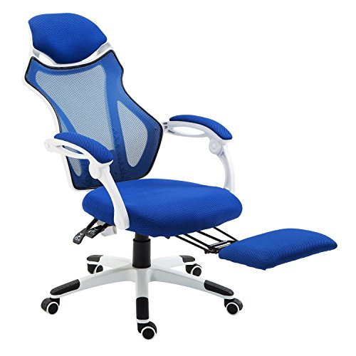 Homcom sedia da ufficio ergonomica girevole e reclinabile for Poltrona ufficio con poggiapiedi