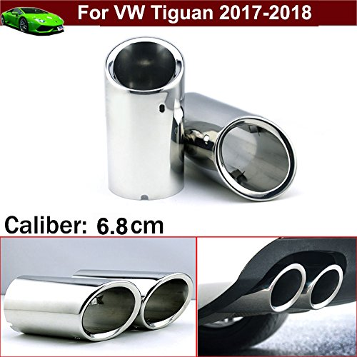 New 2pcs Chrome Stainless Steel Car Tailpipe Exhaust Muffler Tail Pipe Tip Extension Pipes End Pipes Silver Color Custom Fit Yilaite