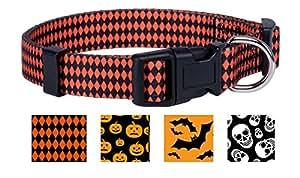 Halloween Dog Collar (Large, Argyle)